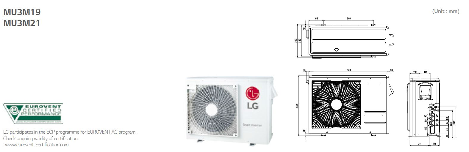 Lg Air Conditioning MU3M19 UE4 Multi Inverter Heat Pump Wall Mounted